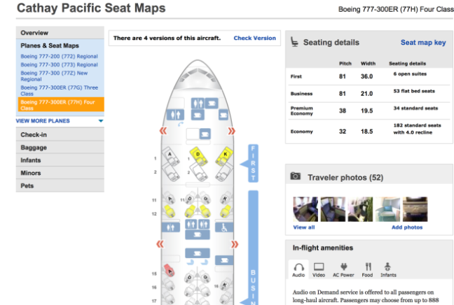 Cathay Pacific First Class Seat Map