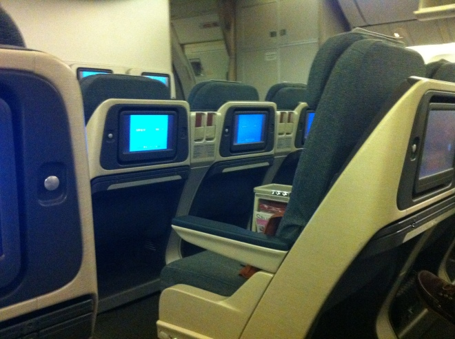 I was too tired to take a worthwhile photo of Cathay's regional business class cabin
