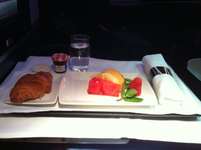 CX 747 Business Class Breakfast