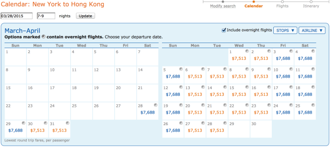 NYC to Hong Kong Cathay Business Class Prices