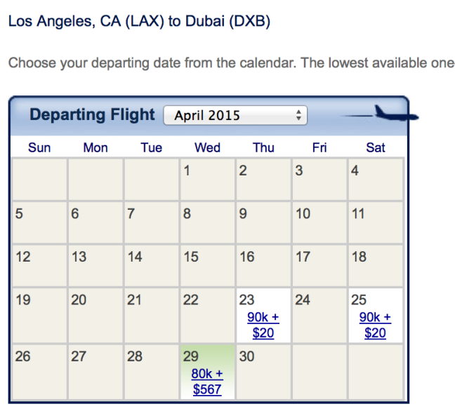 Emirates award space out of LAX for April 2015