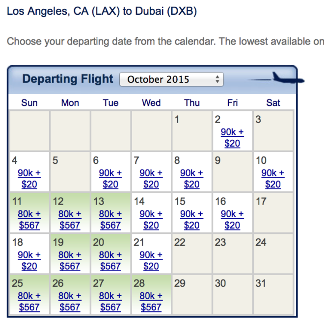 Emirates award space out of LAX for October 2015