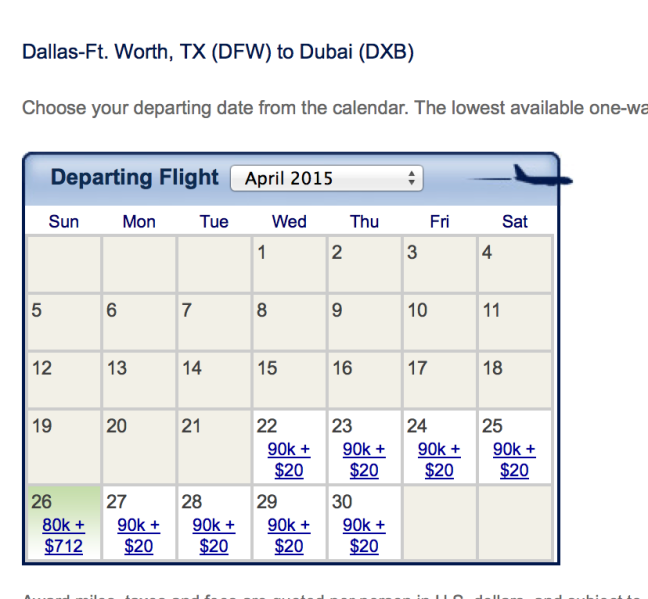 Emirates availability out of Dallas for April 2015
