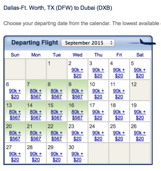 Emirates availability out of Dallas in September 2015