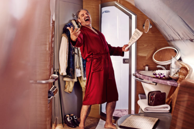 Why is there a singing pirate in Emirates first class?