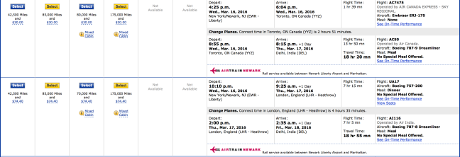 United business class award prices