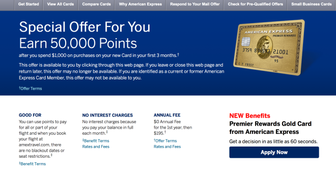 Amex Gold Card Offer