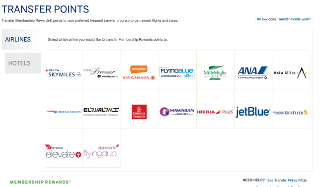 Amex MR Transfer Partners