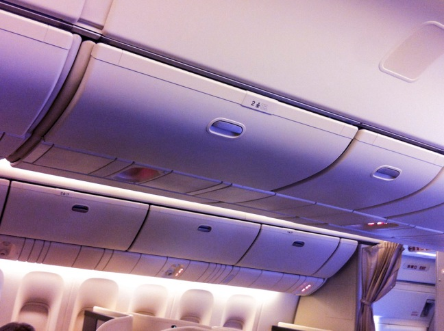 JAL first overhead bins
