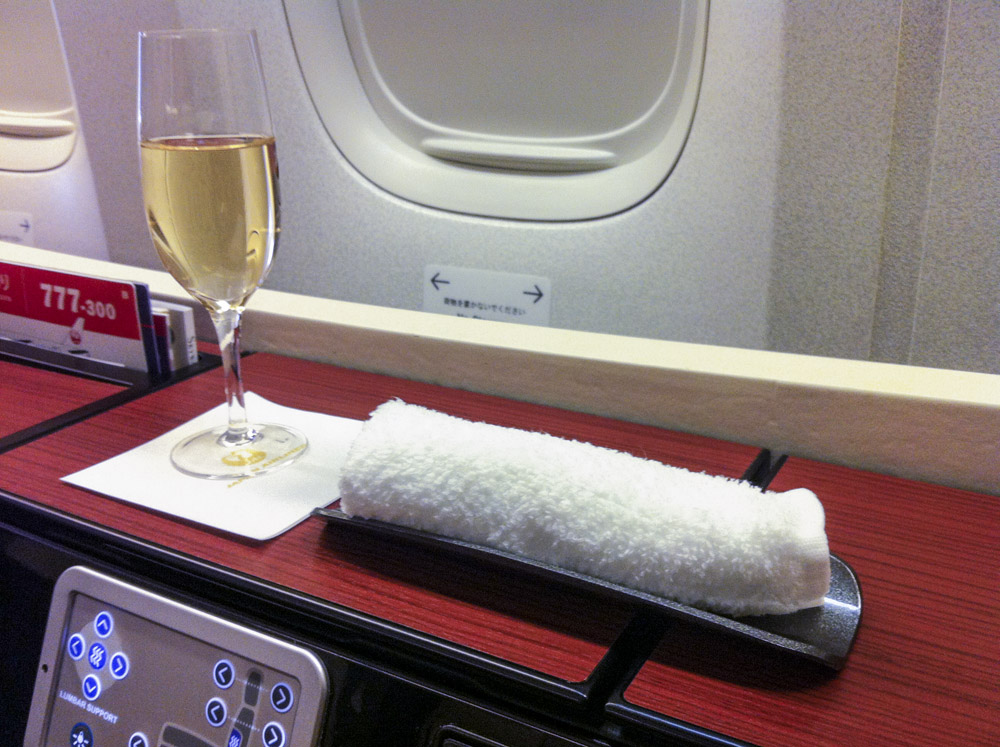 JAL First Class Pre-Departure Champagne