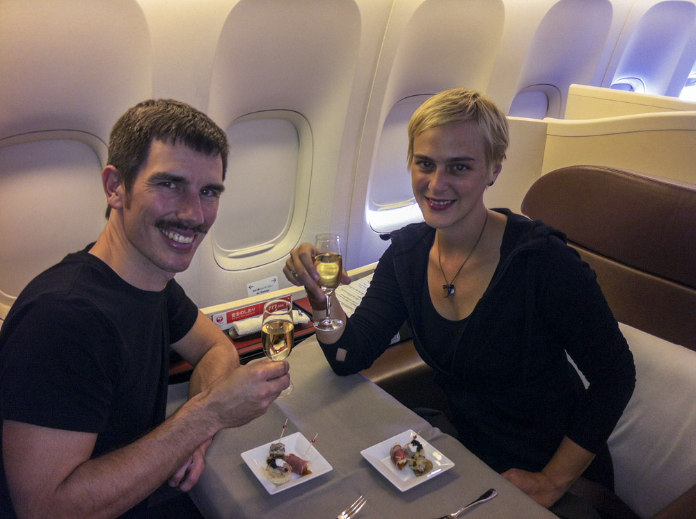 Cheers to another flight in JAL first class.