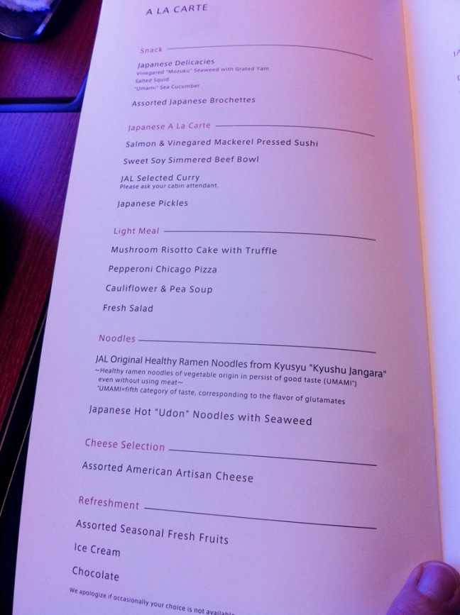 JAL First Class Food Menu.