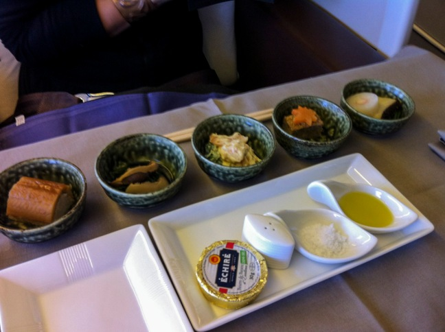 JAL First Class Japanese Hors D'oeuvres.