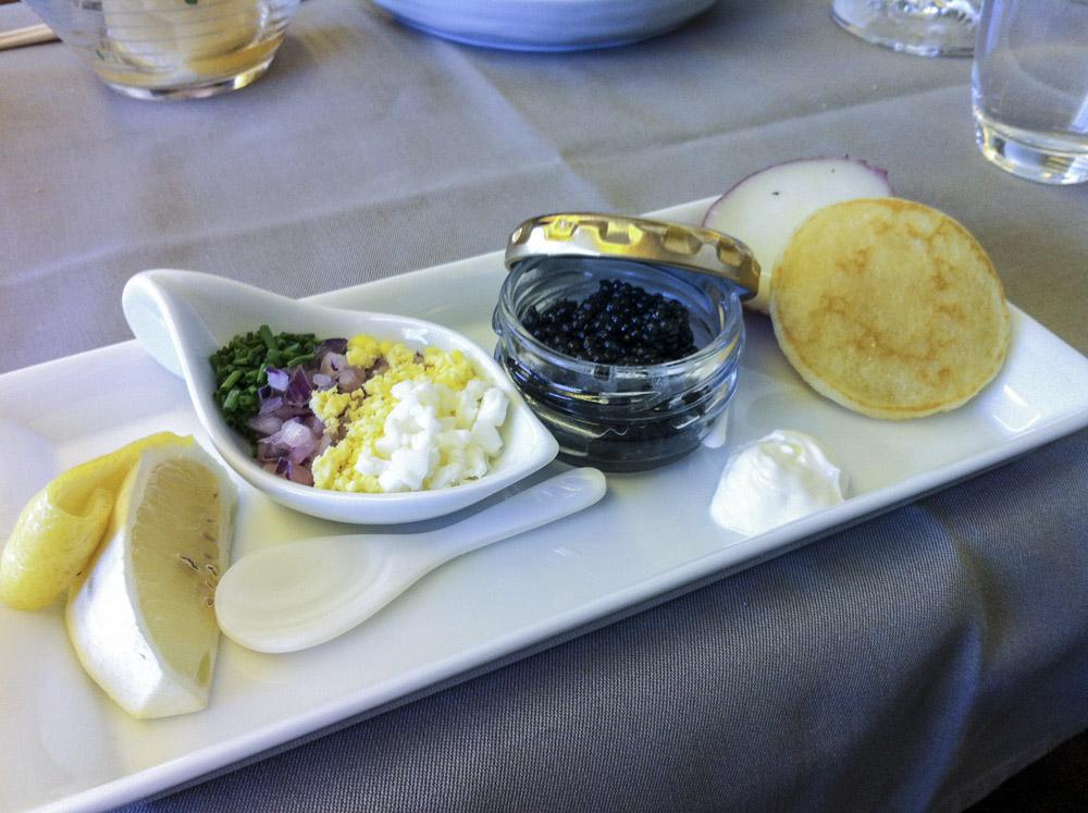 JAL First Class Caviar Service.