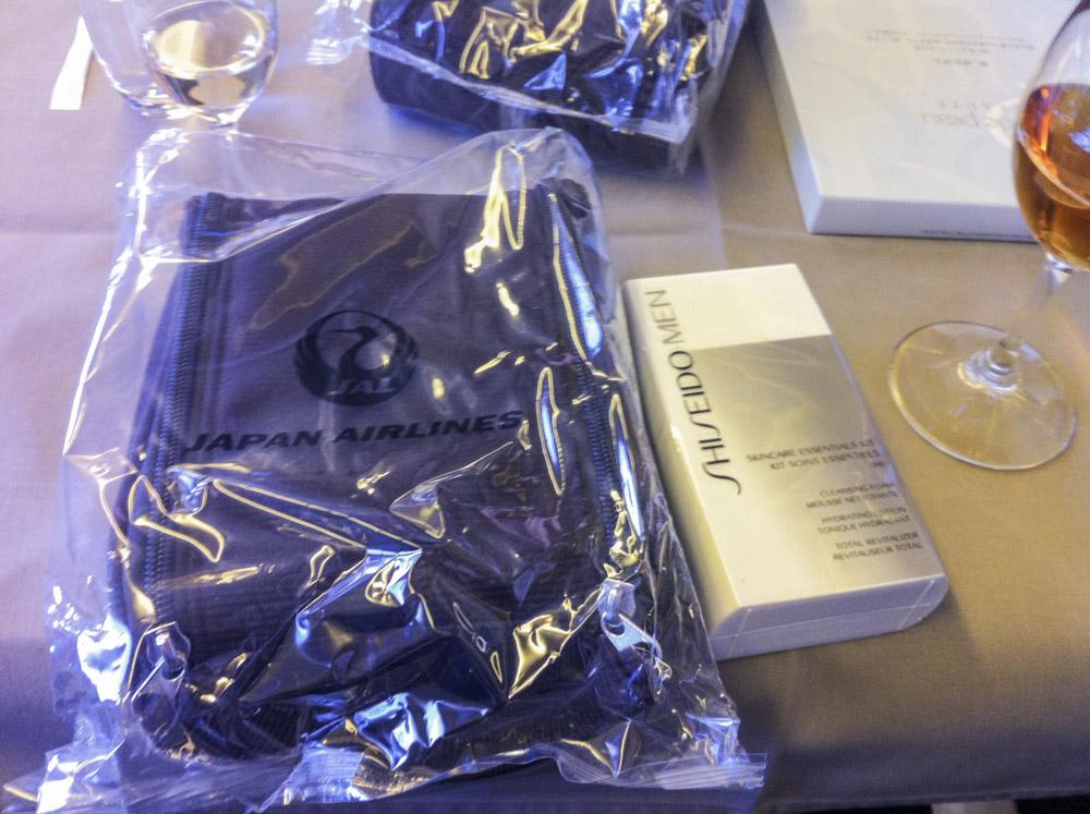 JAL First Amenity Kit and Shiseido Mens Kit