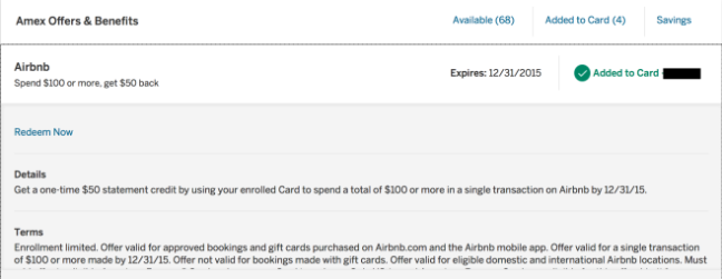 Amex Offers AirBNB