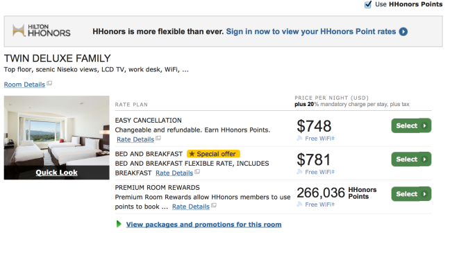 Hilton Category 7 hotel for 266,036 points per night.
