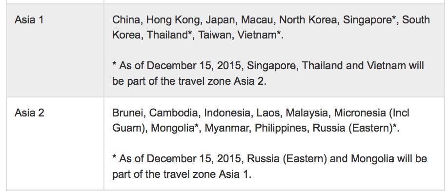 Aeroplan Asia 1 region definition