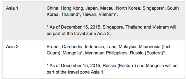 Aeroplan Asia 1 region definition