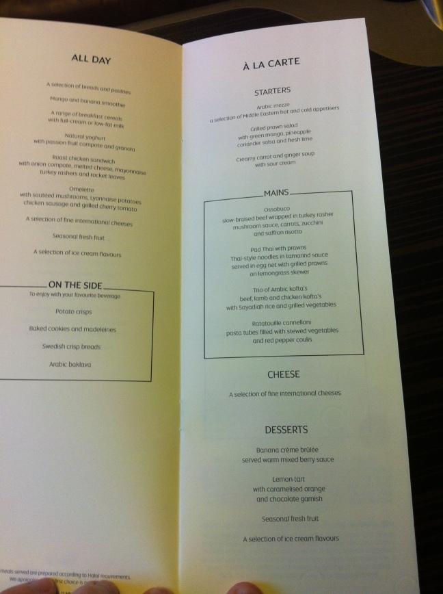 Etihad Business Class menu