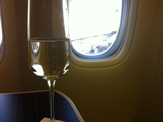 Etihad Business Class Pre-departure Champagne